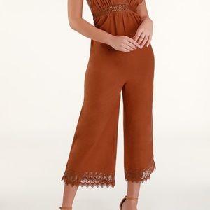 Lace cropped terra cotta crochet jumpsuit LG NWT